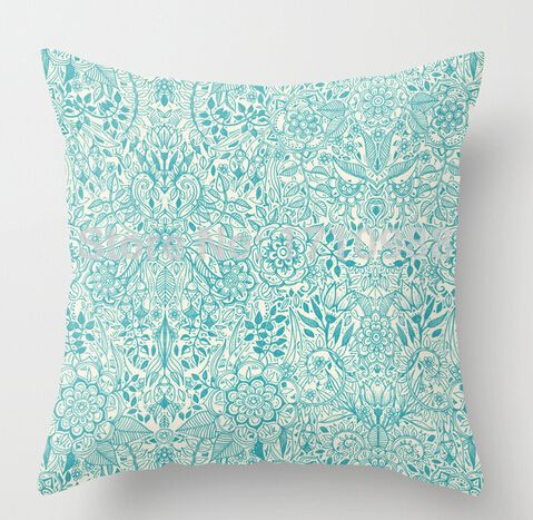 Detailed Floral Pattern in Teal and Cream Pillow case (two sides) for 12x12 14x14 16x16 18x18 20x20 24x24 inch Free shipping