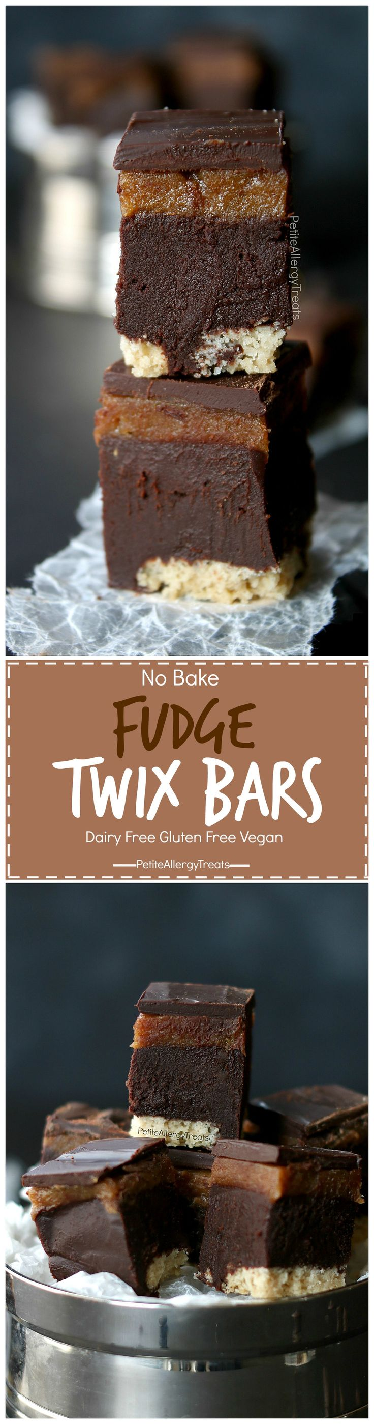 No bake Twix Fudge Bars Recipe (gluten free dairy free Vegan)- Healthier oil free ganache fudge filling and date caramel. Food Allergy friendly!