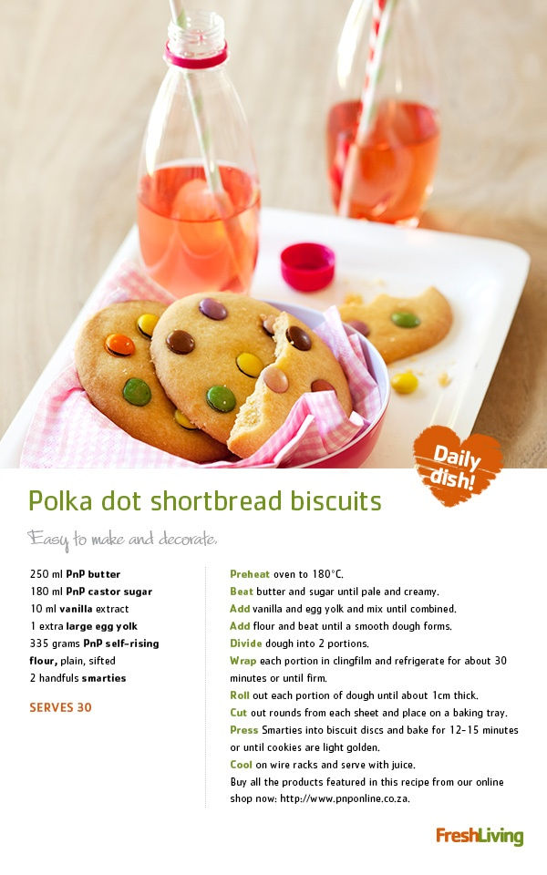 Keep your little elves busy as you prep your #Christmas feast - get them to make fun #polka-dot #shortbread #biscuits for the tree! #xmas #picknpay #dailydish
