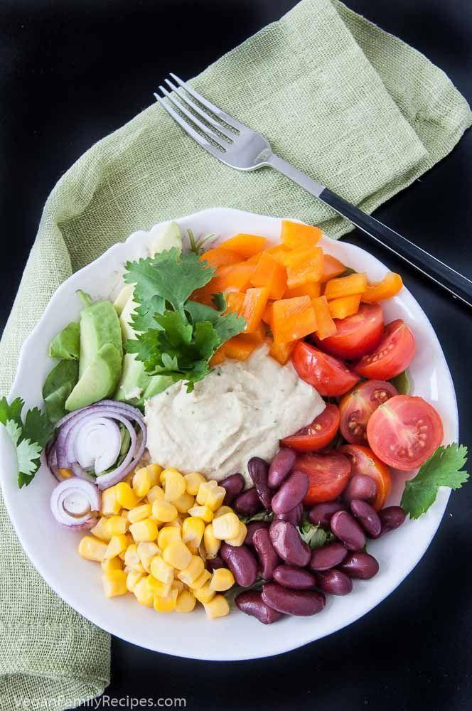 Mexican hummus salad bowl recipe | VeganFamilyRecipes.com