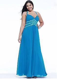 Fabulous Chiffon Halter Neckline Floor-length A-line Plus Size Prom Dress