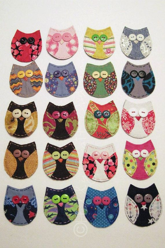 Owl Applique,Fabric Owl, Owl Embellishment, Scrap Fabric Owl, Scrapbook Owl- Custom Made for You, Patch