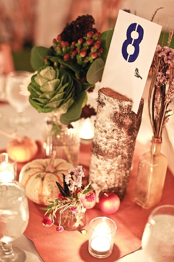 Table number rustic wedding autumn wood