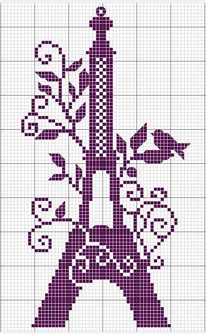 Free Cross-stitch graph: Eiffel Tower