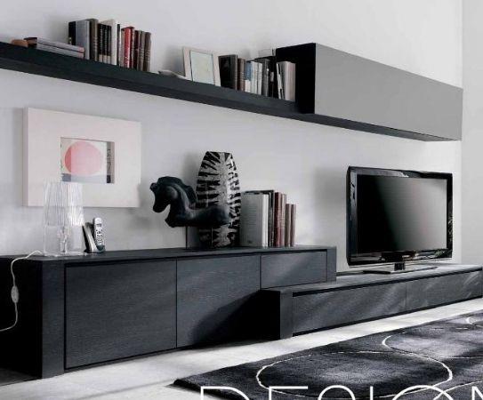 Mueble de salon deco pizarra y cristal gris muebles - Mueble salon gris ...