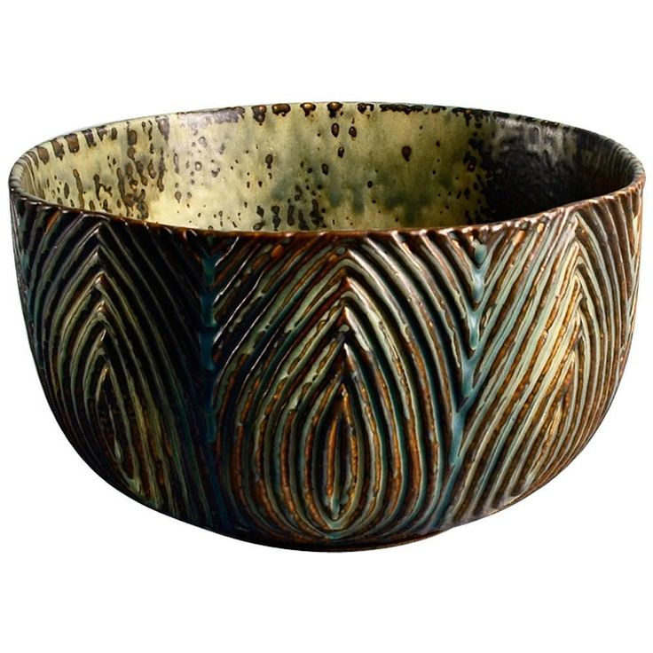 Large Bowl with Sung Glaze by Axel Salto | Large stoneware bowl with carved line pattern to exterior and Sung glaze in shades of brown, cream and blue, 1963.