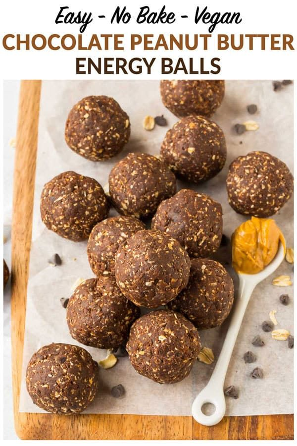 No Bake Chocolate Peanut Butter Energy Balls One Of The Best Healthy Snacks These Easy Peanut Butter Energy Balls Healthy Vegan Snacks Healthy Protein Snacks