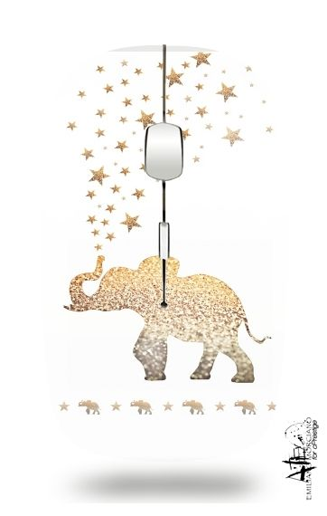 Slim Wireless Mouse Gatsby Gold Glitter Elephant