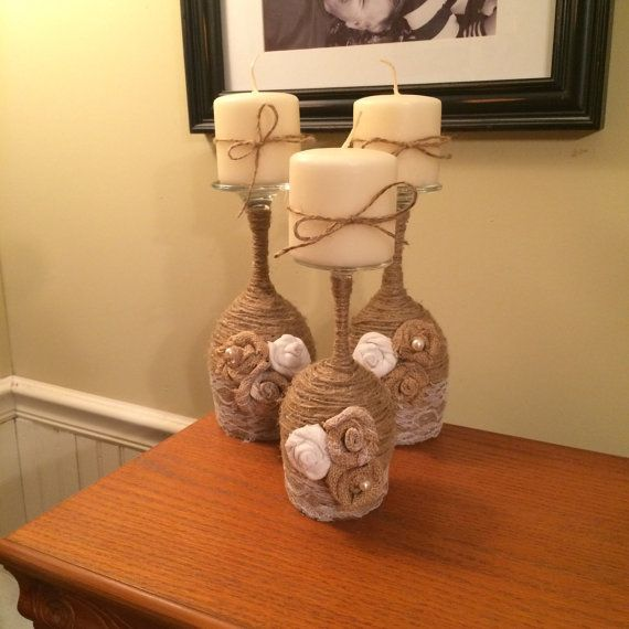 Twine wrapped wine glass candle holders por WildPineappleDesigns