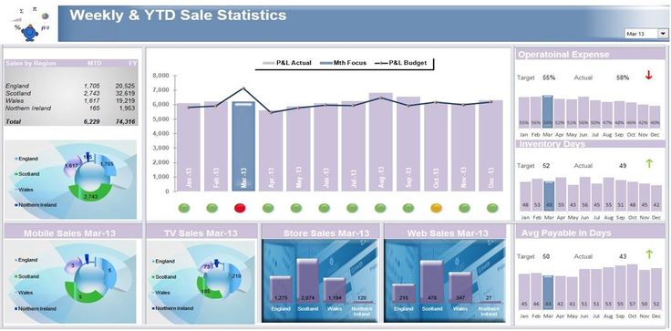 A sales Excel dashboard displaying a range of information all within Excel.