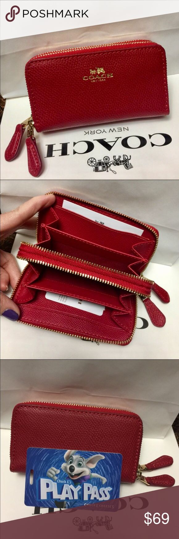 ❤️Coach Wallet❤️ 100% Authentic Coach mini Wallet, brand new!.Color True Red.❤️❤️❤️Firm Price!. Coach Bags Wallets