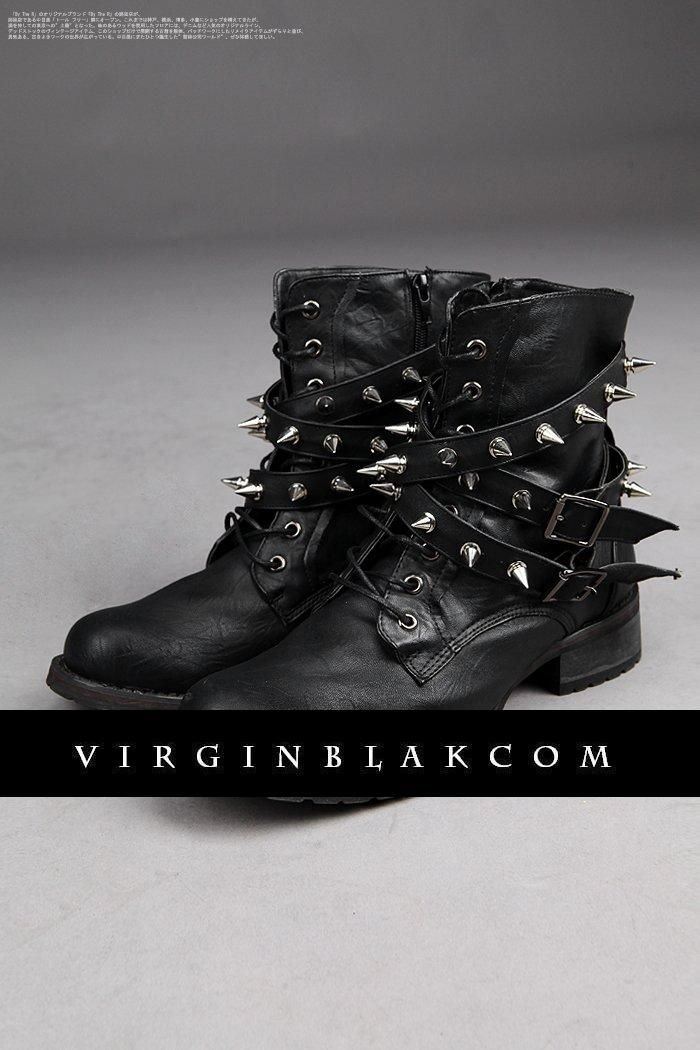 Custom Spike Studded Belted Military Boots by Virgin Blak