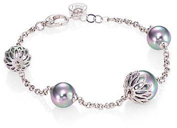 Majorica 10MM-12MM Grey Round Pearl & Sterling Silver Flower Station Bracelet on shopstyle.com