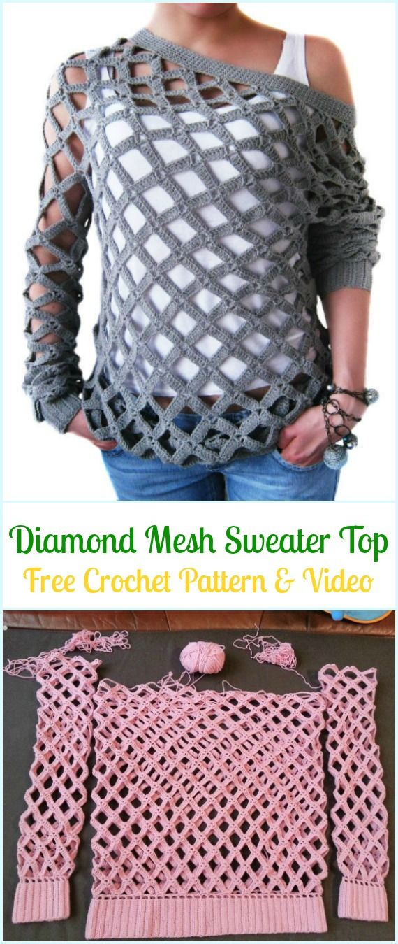 Crochet Diamond Mesh Sweater Top Free Pattern - Crochet Women Sweater Pullover Top Free Patterns
