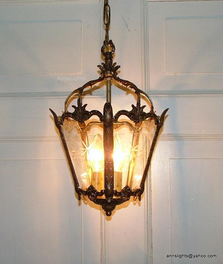 Vintage Hanging Ceiling Light Antique Brass Lantern Pendant 5 Star Design  Etched Glass Panels.