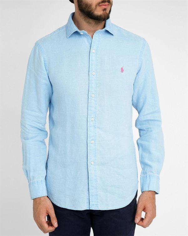40% Descuento | POLO Ralph Lauren, Sky-Blue Linen Slim-Fit Shirt