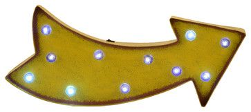 Marquee LED Lighted Arrow Sign Wall Decor Battery Operated, Yellow contemporary-novelty-signs