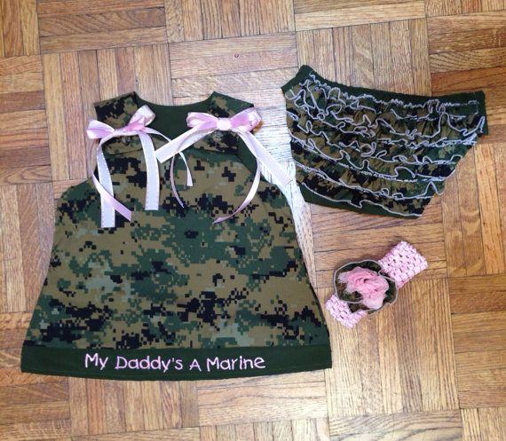 Personalized embroidered marine corps baby dress USMC on Etsy