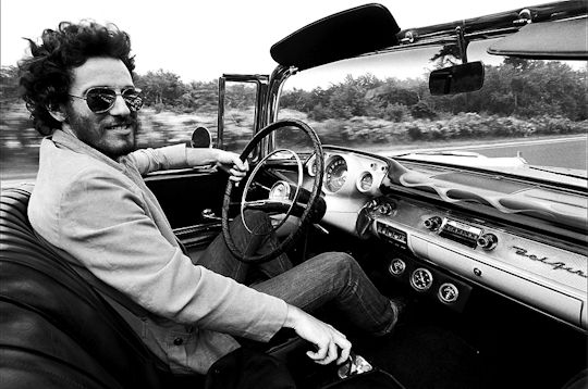 Bruce Springsteen, 1957 Chevy Bel Air convertible, by Eric Meola