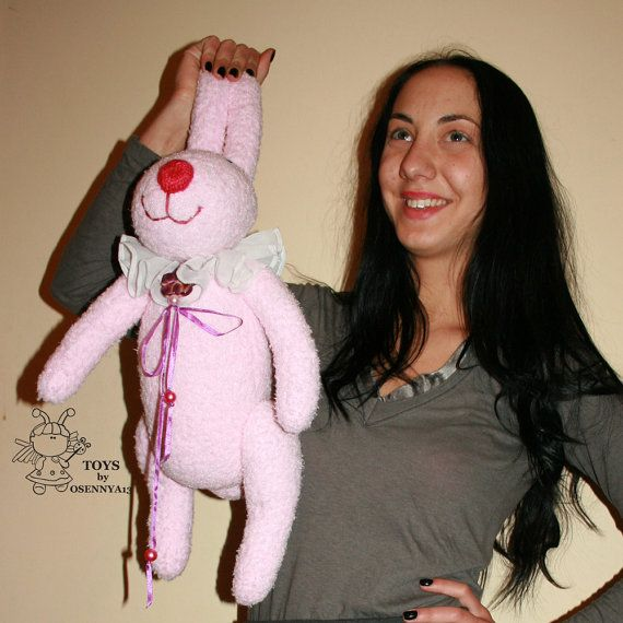 Big pink bunny knitting pattern knitted round by simplytoys13