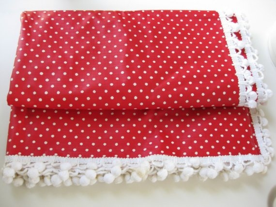 red tablecloth with white polka dots