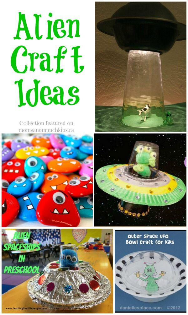 Alien Crafts For Kids #Aliens #CraftsForKids (you can make the alien rocks and put them in a UFO!)
