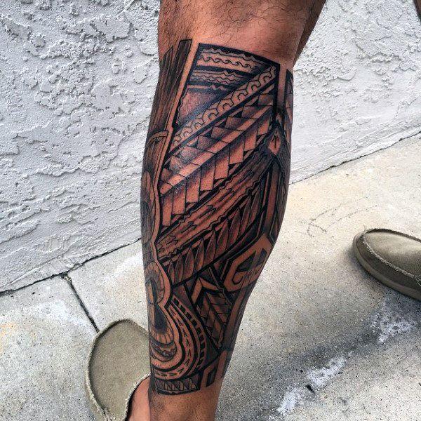 Polynesian Tribal Leg Tattoos For Men 60 hawaiian tattoos for men ... #polynesiantattoosleg