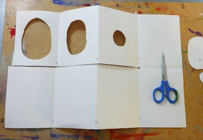 Tunnel book tutorial by Gail Bartel using paper, ruler, pencil, scissors, paint or other medium, tacky glue, and marker.