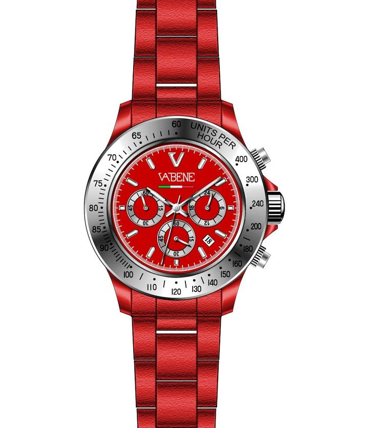 Watch Vabene Black S Italy Red Unisex Genuine Collection Authentic Women Men  Vabene Chrono Collection Unisex Watch CH700  Case size: 40mm diameter Swiss made quartz battery movement Silver round dial with indices Red plastic polycarbonate case  Red acrylic bracelet with locking clasp Fixed stainless steel bezel Date calendar function Mineral glass crystal Water resistant to 50atm
