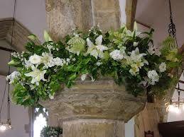 flowers on church pillars