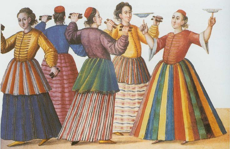 From the 'Codex Vindobonensis 8626': an appearance by male dancers.  Ottoman era, late 16th century.  Note that they wear skirts over their 'entari'-robes, and some dancers have a short skirt over the long skirt to accent hip movement.