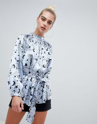 ba68b0e487f727 DESIGN high neck satin long sleeve blouse in moon and star print ...