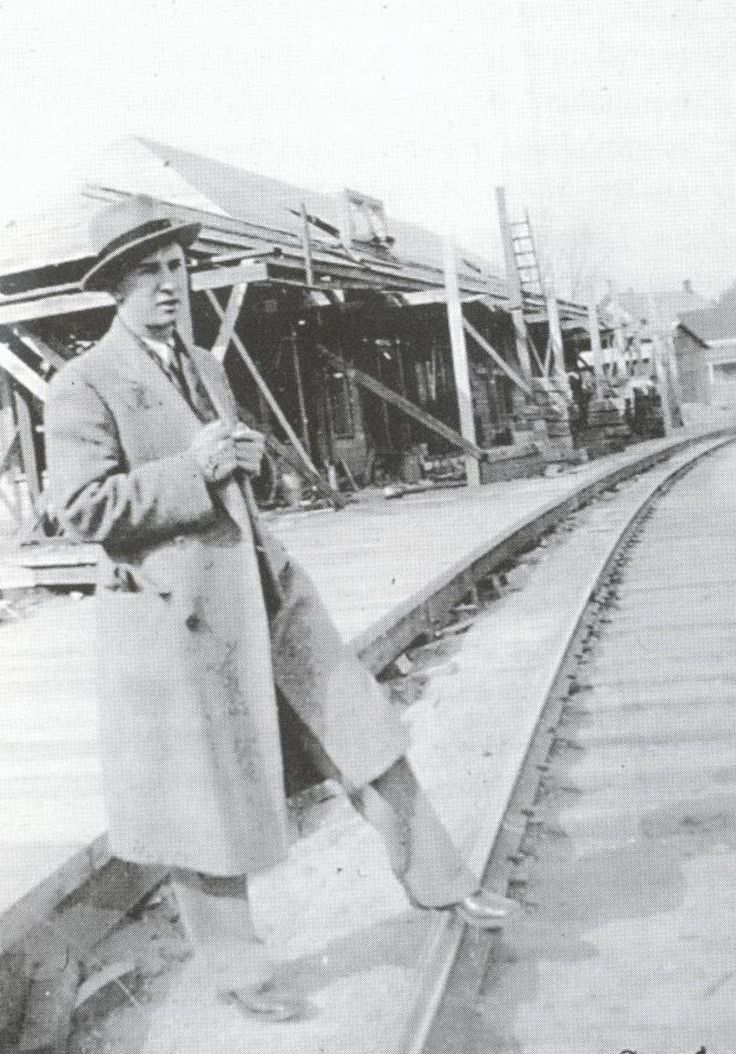 Claire Earle at the Wakefield station during its construction. (Photo - GVHS)