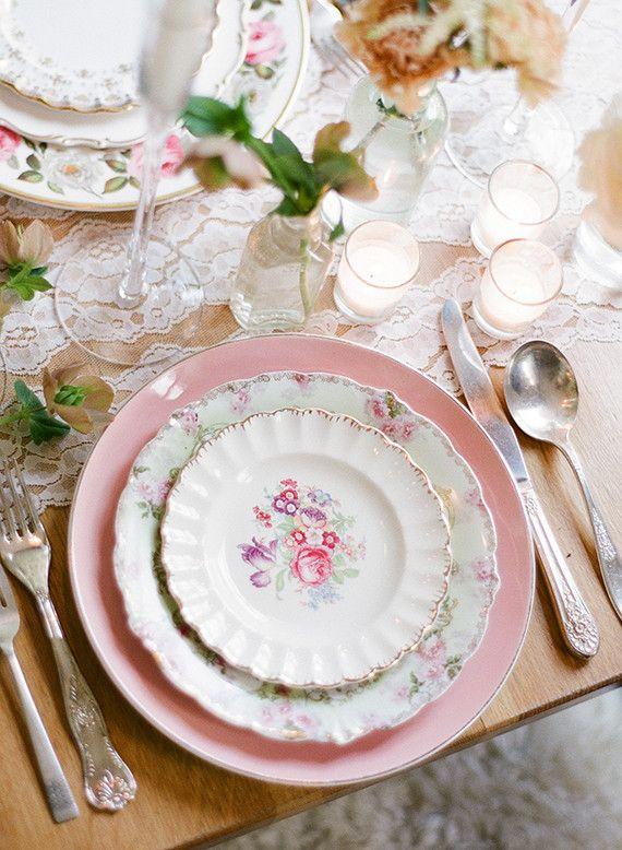 Lythwood loves this Vintage floral china tablescape! <3 #Lythwood #weddings #decor www.lythwoodweddings.co.za