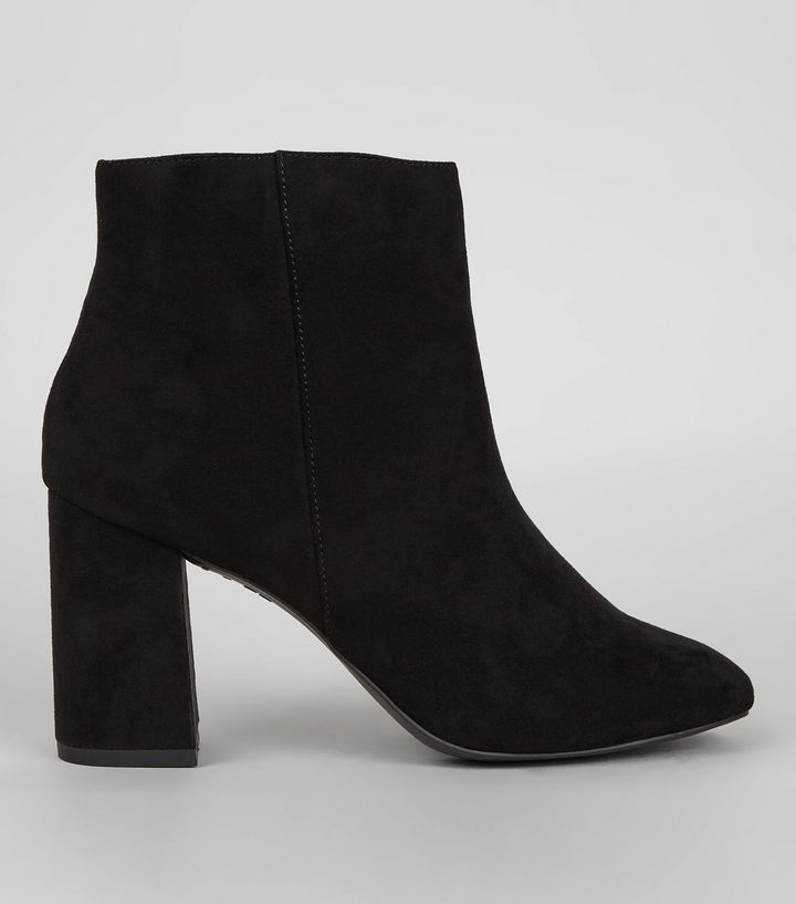 Black Suedette Square Toe Boots | New Look