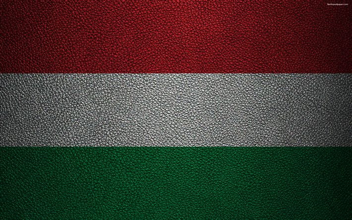Download wallpapers Flag of Hungary, 4k, leather texture, Hungarian flag, Europe, flags of Europe, Hungary