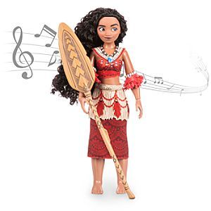 Disney Moana Singing Feature Doll Set - 11'' | Disney Store The teenage master wayfinder who's in tune with nature shows she's also in tune musically with our Disney Moana singing doll set. Press her hand to hear <i>How Far I'll Go</i>, then change her outfit as she plays with her animal friends.