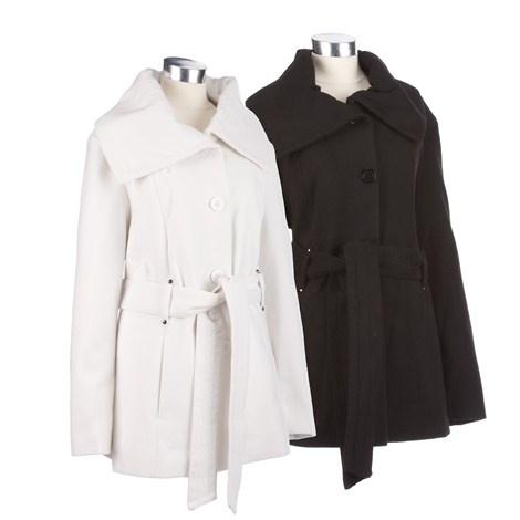 Faux Wool Jacket with Belt - Burlington Coat Factory