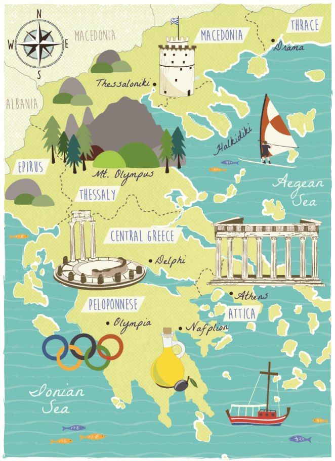 Country Of Greece Map.Illustrated Map Of Greece Signs Pinterest Map Sketch Travel