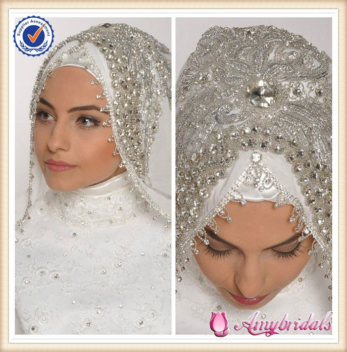 SA3923 Heaven beaded fashion islamic wedding dresses hijab scarf