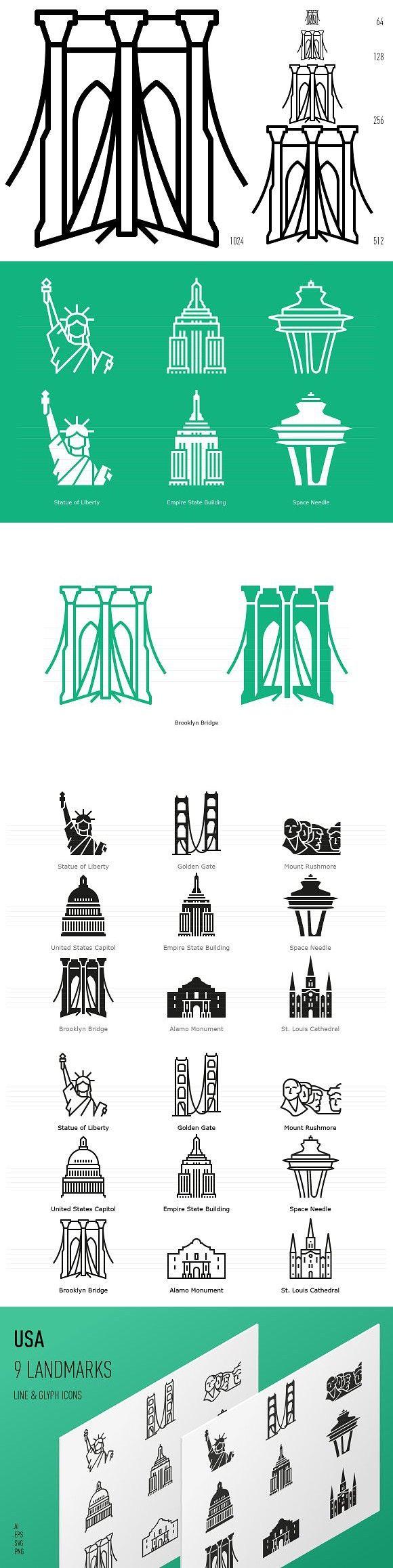 Landmarks Of The Usa Icon Set Icon Set Icon New York Statue