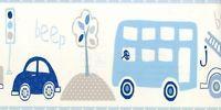 G90070 -nur Für Kinder Tapete Bordüre, Transport druck, blau/grau auf weiß