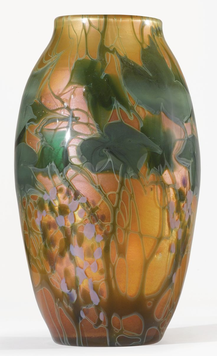TIFFANY STUDIOS  A RARE AND MONUMENTAL PAPERWEIGHT VASE    engraved Louis C. Tiffany R2411  favrile glass  13 3/4 in. (34.9 cm) high  circa 1898-1900