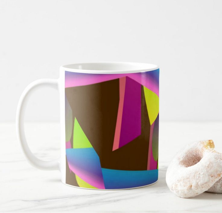 I love bright colours. They are so uplifting. Nice way to help me wake up when I see them on my early morning coffee mug. The coffee seems to taste better. This is a kaleidoscope-type design with some sot of a space craft floating over the top. Over the top?