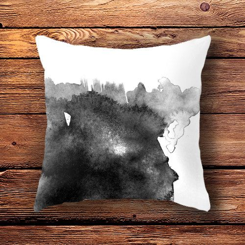 Spilled Ink -  A black and white ink painting turned into a unique pillow for a modern, minimalistic living room.   --- modern decor, black and white pillowcase, ink pillowcase, ink design, artist gift, gift for artist, modern pillow, monochrome decor, monochrome pillow.