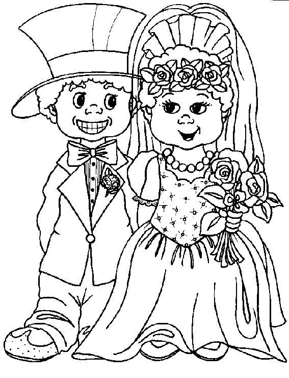 kleding kleurplaat bruidspaar