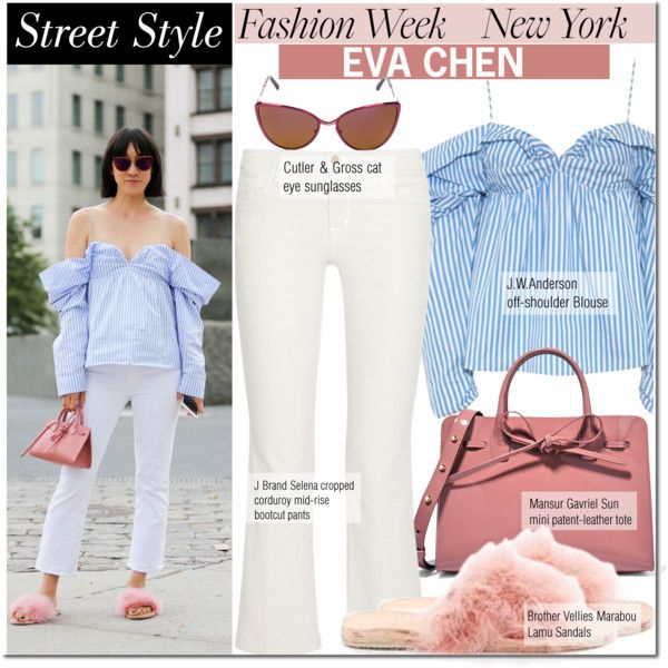 NYFW Street Style: Day Two, Eva Chen by mada-malureanu on Polyvore featuring J Brand, Mansur Gavriel, Cutler and Gross, J.W. Anderson, StreetStyle, NYFW and evachen