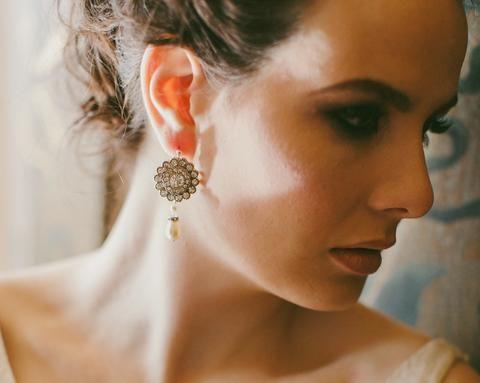 Wedding Earrings - Vintage Style Rhinestone Drop Pearl Earrings, Cassie