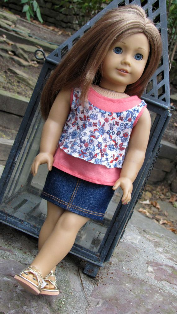 Trendy American Girl Doll Clothes Layered Tank Tops and Denim Mini Skirt