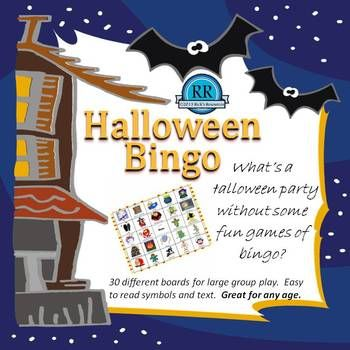 Halloween Bingo Game Boards  What's a Halloween party without bingo! This is a carefully crafted Halloween bingo game that was developed specifically for classroom use. There are 30 different bingo boards to accommodate large groups. Each of the large calling cards includes a text description for ease of calling. All of the boards have clear and colorful graphics that also include text titles so participants can easily identify the symbol being called.  $